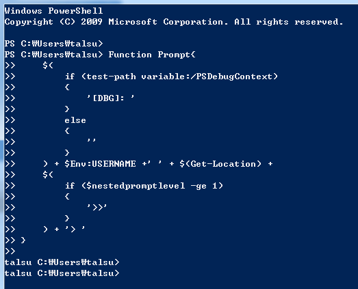 Powershell Prompt Username